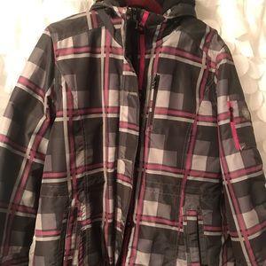 Plaid winter ski jacket